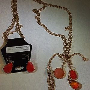 NWT gold tone coral necklace set